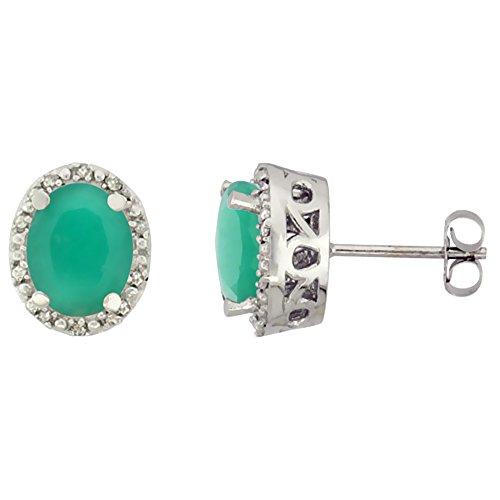 10K White Gold Genuine Cabochon Emerald Stud Earrings Diamond Halo Oval 8x6 mm ()