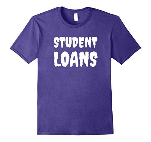 Student Debt Halloween Costume (Mens Spooky Student Loans T-Shirt (White Lettering) Small Purple)