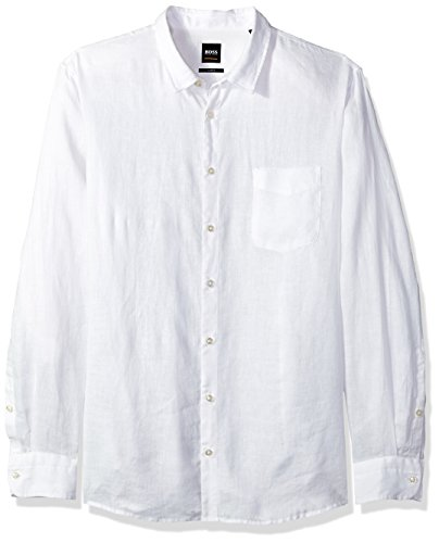 Boss Orange Men's Long Sleeve Garment Dyed Linen Shirt, White, Large