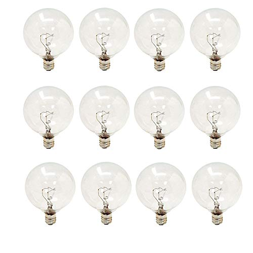 GE Lighting 60 Watt Crystal Clear G16.5 Incandescent Globe Light Bulb, E12 Candelabra Base (12 Pack)