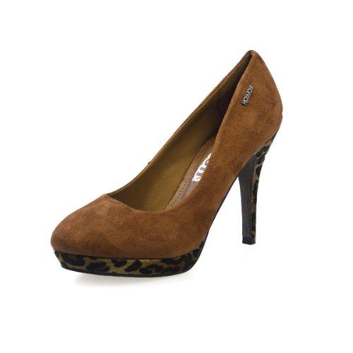 Xti Femmes Camel Leopard talons hauts Court chaussures