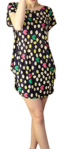 AM CLOTHES Womens Sexy Double Strapes Short-sleeved Mini Dress C-dot heart