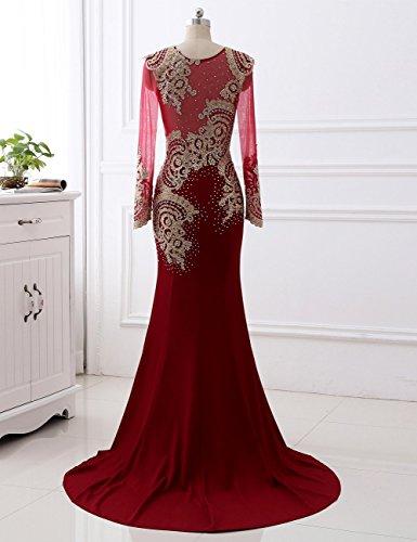 Ärmel Lange Meerjungfrau Ballkleid Gold Abendkleider Rot Applikationen Erosebridal aqfUEw5q