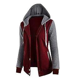 Tianshui Store Autumn Spring Jacket Women Coats Hoodies Sweatshirts Women Button Pocket Hooded Cardigan Basic Jackets Black Red Xl