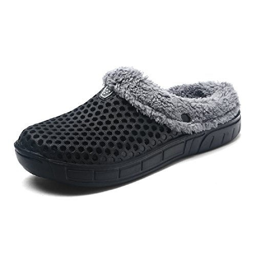 Clogs Black Fur Faux (QISHENG Men's Women Mules Clogs Slip On Garden Shoes Fur Lined Slides Flip Flops Warm Winter Slipper black-39)