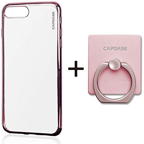 (CAPDASE iPhone 8 Plus iPhone 7 Plus Case Soft Jacket Verge Clear Rose Gold With Detachable Stand Finger Ring Holder)