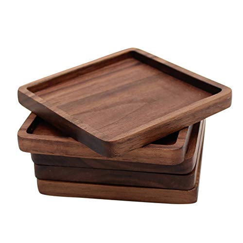 lightclub Round Square Black Walnut Wood Insulation Cup Coaster Mug Mat Pad For Dining Table 2# (Walnut Coasters)