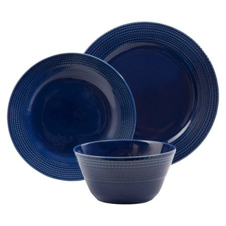 New Basket Rope Weave 12 Piece Dinnerware Set Dark Blue