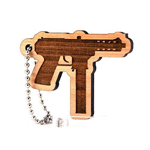 Sunset Design Lab Tec-9 2nd Amendment for NRA Gun Rights Wood Laser Cut  Keychain Charm Ornament