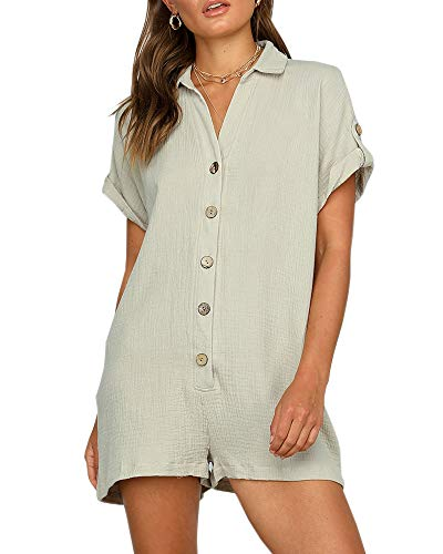 Ofenbuy Womens V Neck Jumpsuits Shorts Short Sleeve Button Oversized Summer Rompers with Pockets Khaki