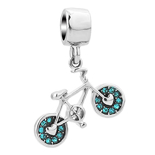 CharmSStory Bicycle Sports Charm Blue Synthetic Crystal Bike Dangle For Charms Bracelet Pendant (Bike Pandora Charm)