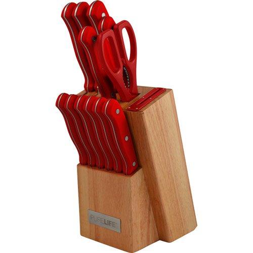 Purelife 12-piece Knife Block Set, Red