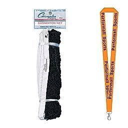 Champion Sports Bundle: 21\' Badminton Net Black / White 1.5 inch Header with 1 Performall Lanyard BN1-1P