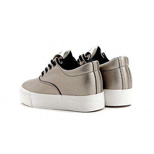Buganda Damesmode Lederen Sneakers Lace Ups Verborgen Hak Plateauzolen Goud 2