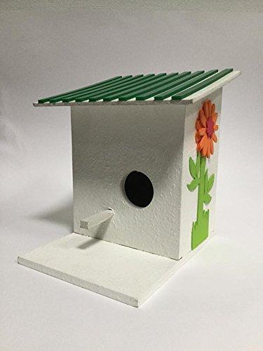 Yositashop Modern Handmade Strong & Durable Wooden Bird House with Flowers Outside Setting Garden Decor. Size : 5.82