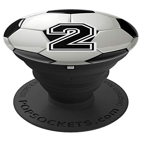 Personalized Soccer Ball Jersey Number 2 two - PopSockets Grip and Stand for Phones and Tablets