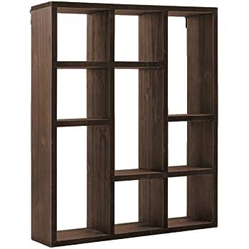 Space Art Deco 9 Compartment Shadow Box Display Shelf/Organizer for Wall or Table/Desk, Dark Brown Wood Finish - Shadow Box Decor - Item Display Unit - Memorabilia Holder (9 Compartment)