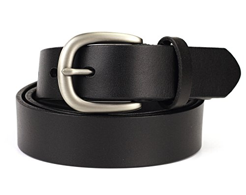 Geremen 28mm Women's Cowhide Leather Belts for Women Custom Fit M08 (Black) by Geremen