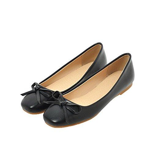 Puntera Negro Zapatos Sólido Tacón Mujeres Slip Agoolar on Cerrada Bajo De vI1fxq