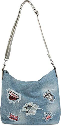 Patch Signora Argento Aspetto A Spalla Stylebreaker Con 02012150 Mano Nero Denim Colore Shopping Strass Bag Paillettes E Borsa FTqtwOW