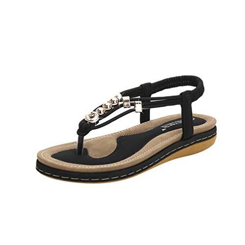 Cinturino da Scarpe Elegante Donna Metallo Spiaggia 1 Clip Sandali Bohemia Infradito a Nero t Toe JEELINBORE Perline 7xIq1WOn7