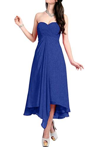 Linie Kurzkleider Blau Chiffon Orange Braut Partykleider Royal Damen Abendkleider Cocktailkleider Wadenlang A La mia xBOPvv