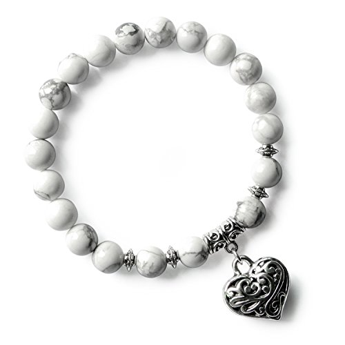 White Howlite Healing Stone Beads Stretch Bracelet for Women Girls Love Heart Charm Beaded Bracelet
