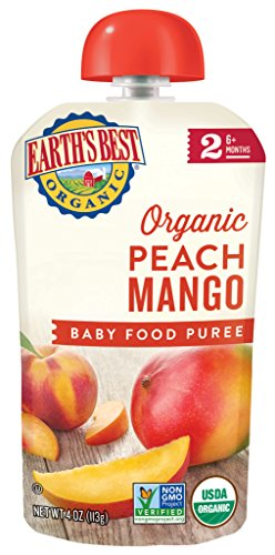 Earth's Best Organic Baby Food Puree Pouch, Peach & Mango, Stage 2 For Babies 6 months & Older, 4.2 Oz (Pack of 12) [Packaging May Vary]