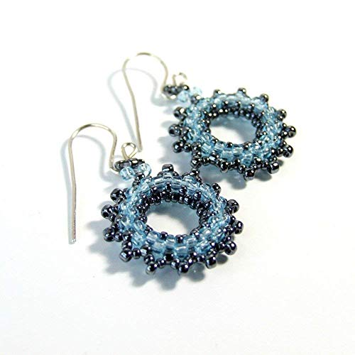 Sterling Silver Wreath Round - Blue Glass Seed Bead Wreath Boho Beaded Dangle Drop Unique Earrings - Handmade Sterling Silver Statement Jewelry Gifts