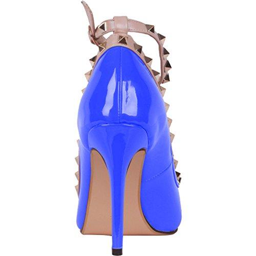 Calaier Womens Caof Pekte Tå 8.5cm Stiletto Slip-on Pumper Sko Turkis
