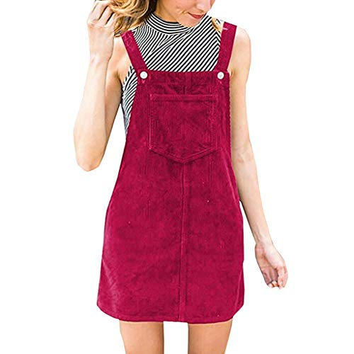 AmyDong Women Ladies Corduroy Straight Suspender Mini Bib Overall Pinafore Casual Dress with Pocket Hot Pink