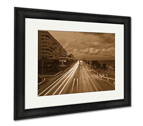 Ashley Framed Prints Fort Lauderdale Beach, Office/Home/Kitchen Decor, Sepia, 30x35 (frame size), Black Frame, - Sunrise Lauderdale To Florida Fort