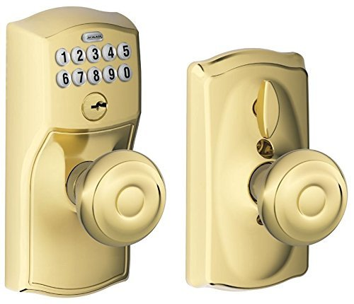 Schlage FE595 CAM 505 GEO Camelot Keypad Entry with Flex-Lock and Georgian Style Knobs, Bright Brass Camelot Electronic