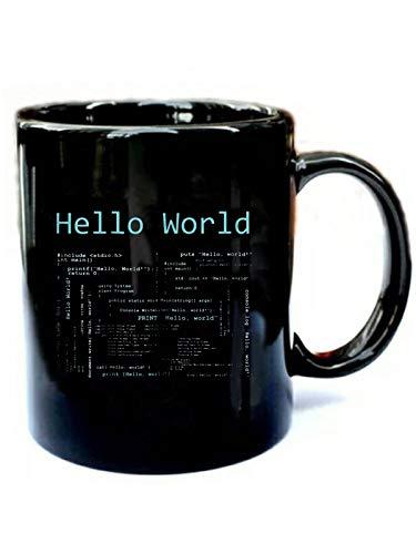 Hello World - Computer Programming Languages - Funny Gift Black 11oz Ceramic Cozy Coffee Mug