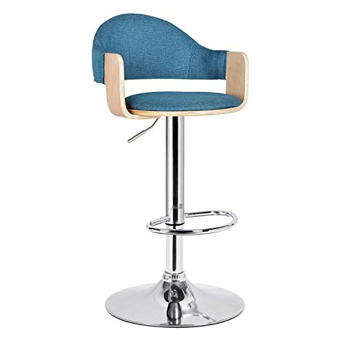 Adeco Teal Fabric and Light Wood Cushioned Hydraulic Lift Adjustable Barstool with Low Back Chrome Accent Pedestal Base (Stools Blue Bar Light)