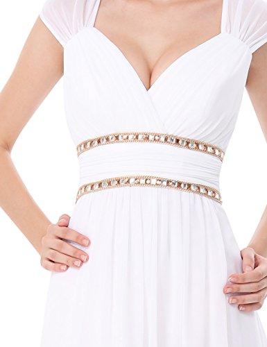 Women's Pretty Ever V Dress Neck White 08697 Sleeveless Long Elegant Formal Evening 5xAwwpU
