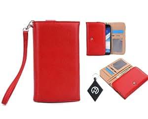 Red Wristlet Phone Cover Wallet Case Fits Karbonn A25 + NuVur +#153; Keychain (ESXLWLR1)