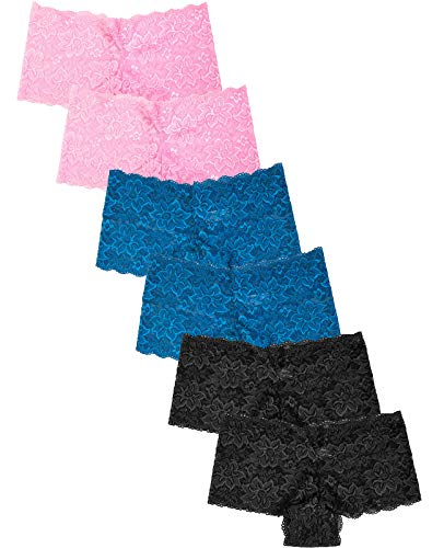 Women's Premium Lace Hipster Panty (6 Pack) (Small, Assorted2)