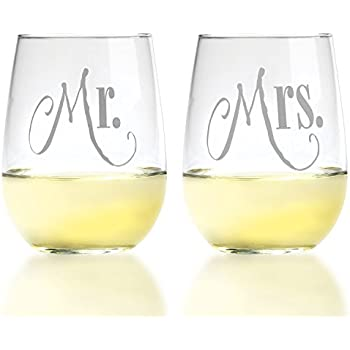 Mr. & Mrs. Silver Stemless Wine Glasses With Elegant Lettering - For Couples