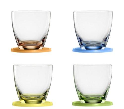 Bohemia Cristal 093 006 061 Bowlebecher ca. 300 ml aus Kristallglas farbig dekoriert mit Untersetzer aus Kunststoff farbig sortiert 4er Set