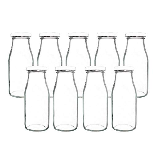 YEBODA 11oz Glass Milk Bottles with Reusable Metal Twist Lids and Straws for Beverage Glassware and Drinkware Parties, Weddings, BBQ, Picnics, Set of - Metal Milk