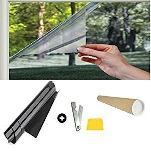 StickersLab - Pellicola oscurante antigraffio per finestre casa o camper nera al 20% misura 75cm x 300cm
