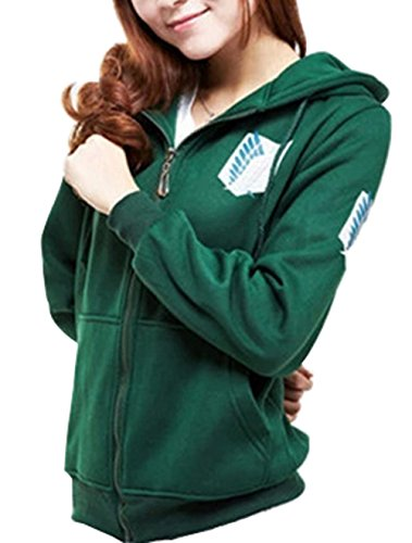 Eva's Eye Attack on Titan Shingeki No Kyojin the Survey Corps Eren Cosplay Hoodie Blouse Green Small (Attack On Titan Cosplay Eren)