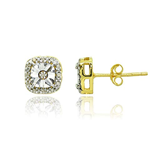 Yellow Gold Flashed Sterling Silver Polished Halo Square Cushion Diamond Accent Stud Earrings, JK-I3