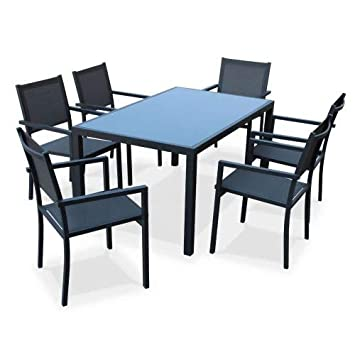 Salon de Jardin en Aluminium et textilène - Capua - Anthracite, Gris - 6  Places - 1 Grande Table rectangulaire, 6 fauteuils empilables