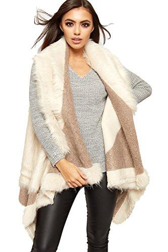 WEARALL Women's Faux Fur Hanky Hem Long Sleeveless Top Gillet Waterfall Waistcoat - Cream - US 8-10 (UK 12-14)