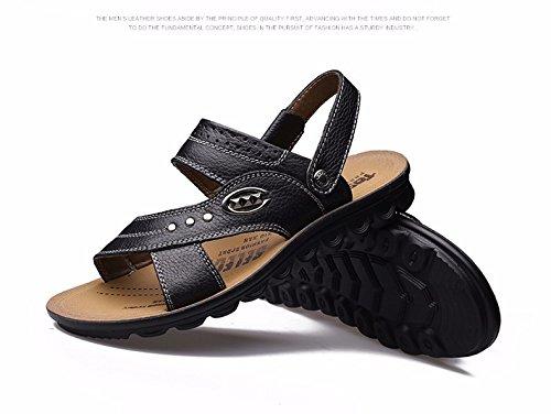 Uomini sandali Uomini estate vera pelle Doppio uso Spiaggia scarpa gioventù Spessore inferiore Antiscivolo traspirante Tempo libero Uomini scarpa ,neroB,US=9.5,UK=9,EU=43 1/3,CN=45