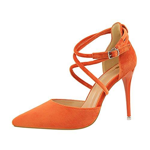 z&dw Elegante show Sexy Slim con tacones altos ante la boca poco profunda de punta hueca sandalias de banda cruzada Naranja