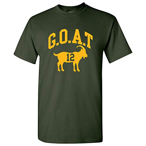 Green Bay Goat 12 - Green Bay Football Greatest of All Time Quarterback T Shirt - X-Large - Forest (Tom Brady Greatest Quarterback Of All Time)