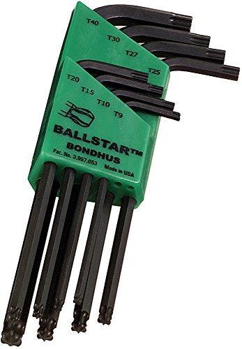 L-Wrenches Sizes T9-T40 Bondhus 11332 Set of 8 BallStar